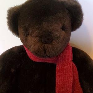 Potterybarn dark chocolate bear with scarf. 12 in.